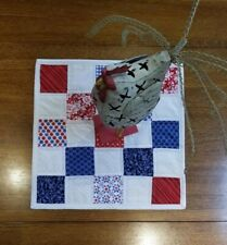 Red, White and Blooms Quilted Patriotic Table Topper - Free Shipping!