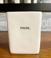 NEW ~ Rae Dunn FOCUS Office Organizer Pencil Pen Holder Square Vase Ivory