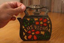 Vintage Las Vegas Teapot Trivet Metal Stained Glass Tea Kettle Souvenir Hotplate