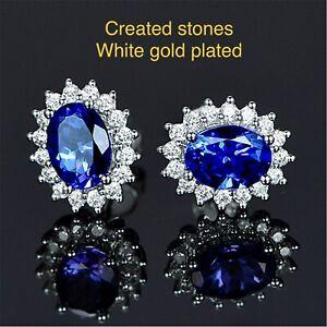 0.7ct 4x6mm oval sapphire DIAM0NDS earrings