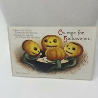Vintage Postcard Courage For Halloween Pumpkins 1990 Reproduction