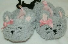 New Baby Girls size 2 Bunny Rabbit Slippers Non-Skid dots Gray Pink Bows Easter