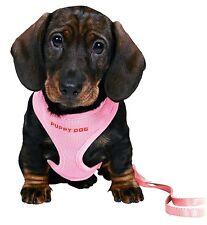 Pink Welpe Hundegeschirr 26-34cm Weich Verstellbare Klettergurt & Leine