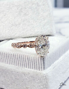 1.20 Carat Oval Vintage Round and Marquise Shape Diamond Engagement Ring - GIA