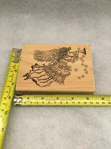 Musical Angel Hampton Art Stamps Rubber Stamp Mounted Angel Wings Horn Stars
