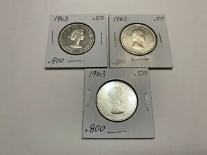 1963 Canadian 50 Cents Silver Coin Lot of (x3) Coins -  Coins in Beautiful Shape