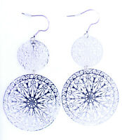Silver coloured thin cut out circle chandelier earrings
