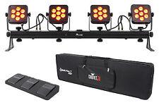 Chauvet DJ 4Bar Flex T USB D-Fi DMX LED Light Bar + Carry Case + Foot Switch