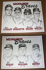(2) 1957 1960's Milwaukee Braves Prints Warren Spahn Burdette Conley Willey