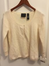 Nwt Vintage Axcess Cream Wool Angora Blend Soft Sweater Small Scoop Neck $44