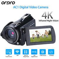 ORDRO AC1 24MP 4K 3'' Digital Video Camera Infrared DV Cam + Wide Angle Lens
