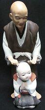 Vintage Rare 1950s Japanese Hakata Urasaki Clay Doll Barber Shaving Boy's Head