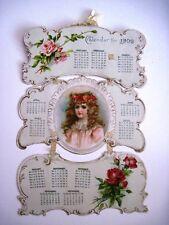 Gorgeous 1902 Hanging Calendar w/ Lovely Girl & Beautiful Scrolling    *