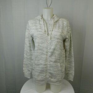 Bobbie Brooks Cotton-Blend Zip-Up Hoodie Sweatshirt - White-Gray, Small #4159