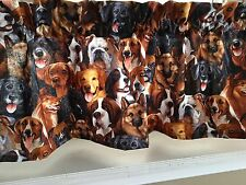 """NEW Different Dogs Puppy Breeds Valance Curtain 42""""W x 13""""L"""