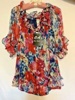 NWT! Once Again ~ Women's Ruffled Top/Shirt/Blouse Floral Sheer Front Tie ~ Sz.S
