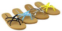 Womens Lady Soft Strap Flat Flip Flops Summer Sandals Holiday Beach Lightweight