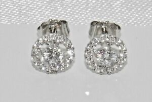 9ct White Gold Diamond Halo Cluster Stud Earrings -