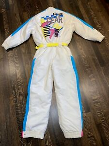 Vtg 80s 90s TYROLIA One Piece SKI SUIT Snow Bib retro Snowsuit gaper MENS SMALL