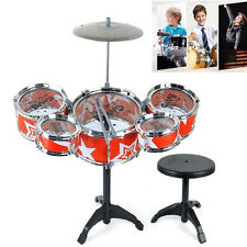 Kids 7 Piece Junior Drum Kit Red Complete Beginner Set Cymbals Stool Sticks t