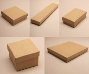 12 x Pack Natural Brown Card Gift Jewellery Wholesale Bulk - with Black Insert