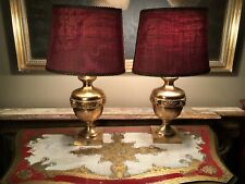 Pair Of Refurbished Antique Gilt Metal Classical Table Lamps
