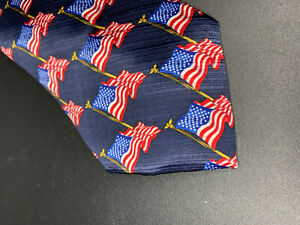 American Traditions Flag Men's Silk Necktie Made in USA Red White Blue Patriotic