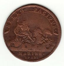 1712 Louis XIV copper jeton * MARINE * in Second Intercolonial War period