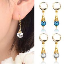 Fashion Women Yellow Gold Filled Crystal Long Dangle Drop Earrings Jewelry Gifts