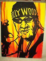 Canvas Painting Wrestler Hulk Hogan Hollywood Face Yellow Art 16x12 inch Acrylic