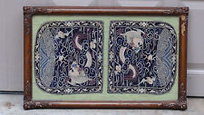 ANTIQUE 19c DOUBLE RANK SILK EMBROIDERY 5 CLAWS DRAGON & BATS BADGE,FRAMED