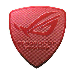 Asus Republic of Gamers Red Chrome Sticker 27 x 30mm For Desktop Laptop ROG