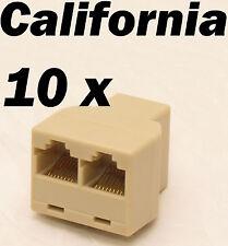 Lot 10 Pcs 3-Way RJ45 Network Y Splitter Cable Extender Plug Coupler Adapter T
