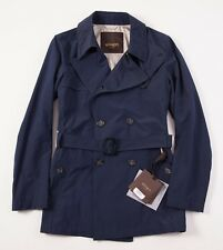 NWT $895 ALLEGRI Navy Blue Wind-Rain Repellent 3/4 Length Trench Coat 50/M