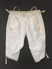 Marithe Francois Girbaud Beige Cotton Cropped Pants Sz 29 EU38 Boho Chic