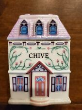 The LENOX SPICE VILLAGE Porcelain Spice Jar House -  Chive (1989)