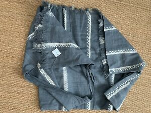 NWT TENSIRA Handwoven Grey Cotton Bed Cover with Fringes 94x102