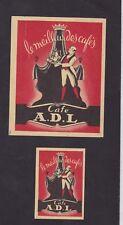 Anciennes  étiquettes  Allumettes Belgique BN45065 Café A.D.L. Homme