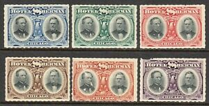 U.S.A. - Cinderella - 1911 Hotel Sherman Chicago x 6 mint labels