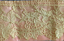 "antique lace collar handmade Point de Gaze collar 32"" pink satin mounted 1916"