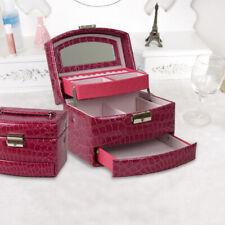 3-Layer Jewelry Box Storage Organizer Case Ring Earring Necklace Mirror PU Box
