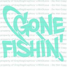 Gone Fishin' Vinyl Decal with Fish Hook Sticker Fishing River Lake Creek Ocean
