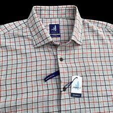 Johnnie-O Eastwood Lightweight Brushed Cotton Grey Plaid Shirt XL $135