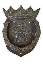 "Antique 8 1/4""  Heavy Bronze Heraldic Door Knocker, Dutch."