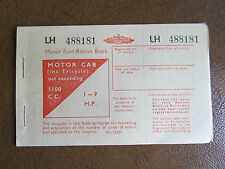 Motor Fuel Ration Book. 1950. Good Condition. 1 to 9 H.P. max 1100cc