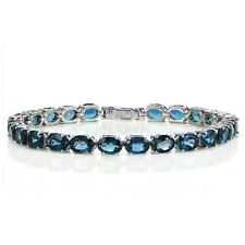 Sterling Silver 20ct TGW  London Blue Topaz Oval Tennis Bracelet