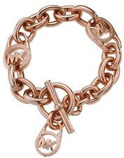 NWT MICHAEL KORS Rose Gold Tone Bracelet MKJ2752 Toggle Padlock Logo Charm NIB