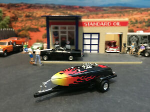 1:64 Hot Wheels Limited Edition Crackerbox Race Boat Black w/ Flames & Trailer