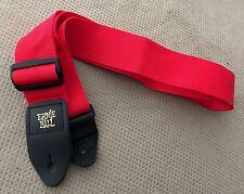 Ernie Ball Genuine Leather Ends Original Gold Logo Red Guitar Strap USA