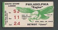 Philadelphia Eagles Vs. Detroit Lions Ticket Stub December 19th, 1965